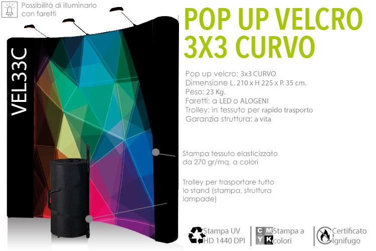 Pop up velcro 3x3 curvo