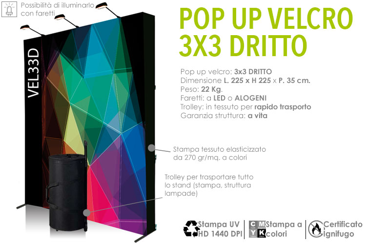 Pop up velcro 3x3 dritto