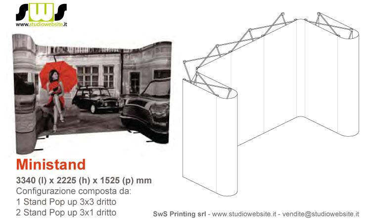 Ministand con pop up 3x3 dritto