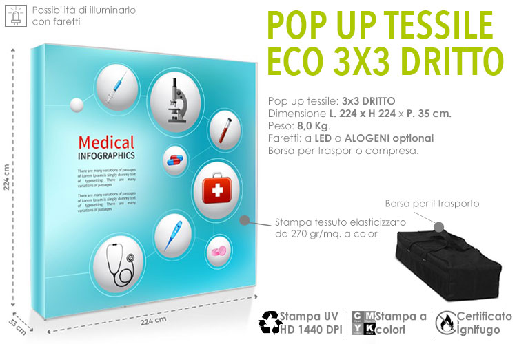 Pop up tessile - 3x3 dritto