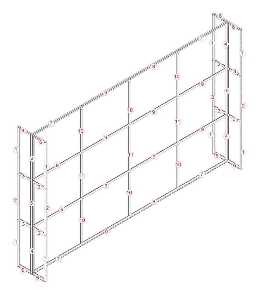 Parete per stand lineare - 490x300 cm. - montaggio